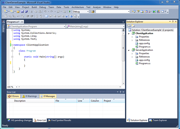 Visual studio solution containing the empty projects.