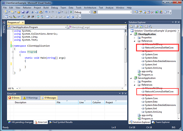 Visual studio solution containing the projects which now have references to the NetworkCommsDotNet Core DLL.