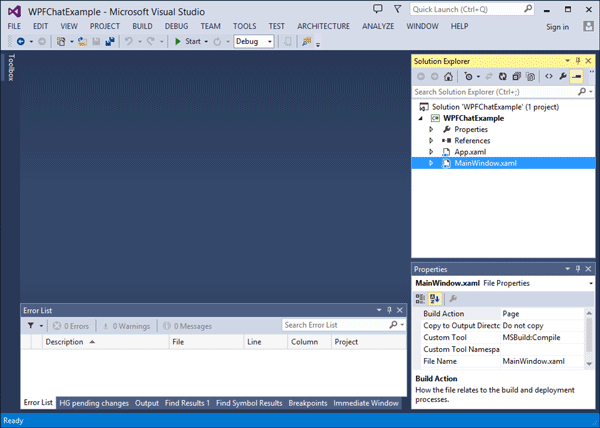 Freshly created visual studio application named 'WPFChatExample'