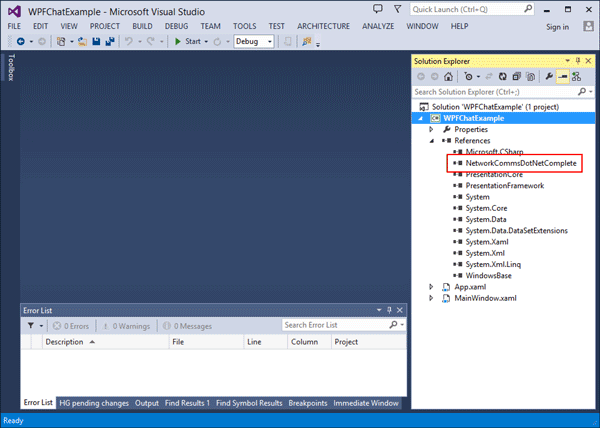 'WPFChatExample' WPF application containing a reference to the complete NetworkComms .Net DLL.