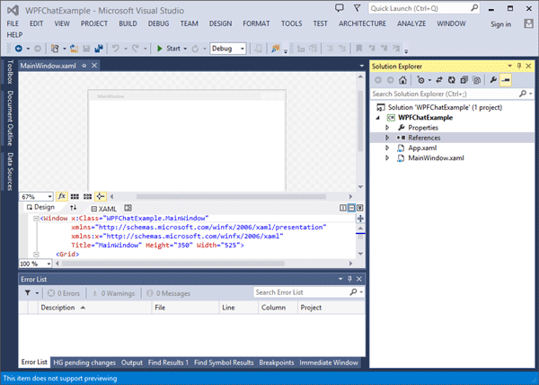 The open 'MainWindow.xaml' file showing both 'Design' and 'XAML'.