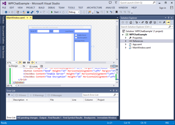 After Copy and Paste of the example xaml code the design window should now show the basic layout.