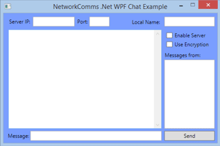 The WPF chat application example. All of the layout elements have been added but lack any functionality.